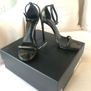 SAINT LAURENT Black Gold Jane Sandals 36.5